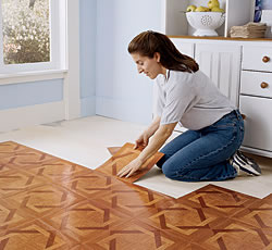 the vinyl flooring can be placed without problems on another floor the vinyl is presented in mosaics that are fixed with glue tiles and roll