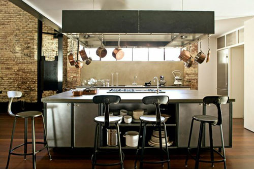 an industrial style kitchen indoor lighting. Black Bedroom Furniture Sets. Home Design Ideas