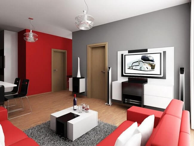 combination of red and gray