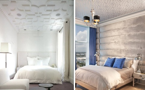 Ideas for decorating bedrooms with different ceilings for Techos decorados