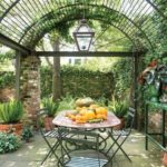 Decorate with metal pergola for garden