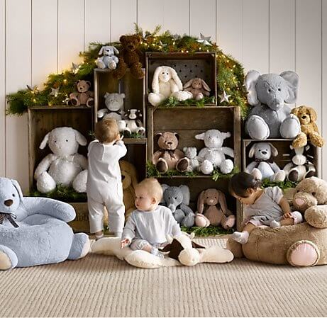 nursery room with stuffed animals