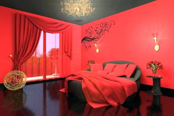 romantic room with red